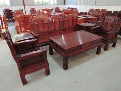 【红木家具小象头花枝木沙发(六件套)】红木家具小象