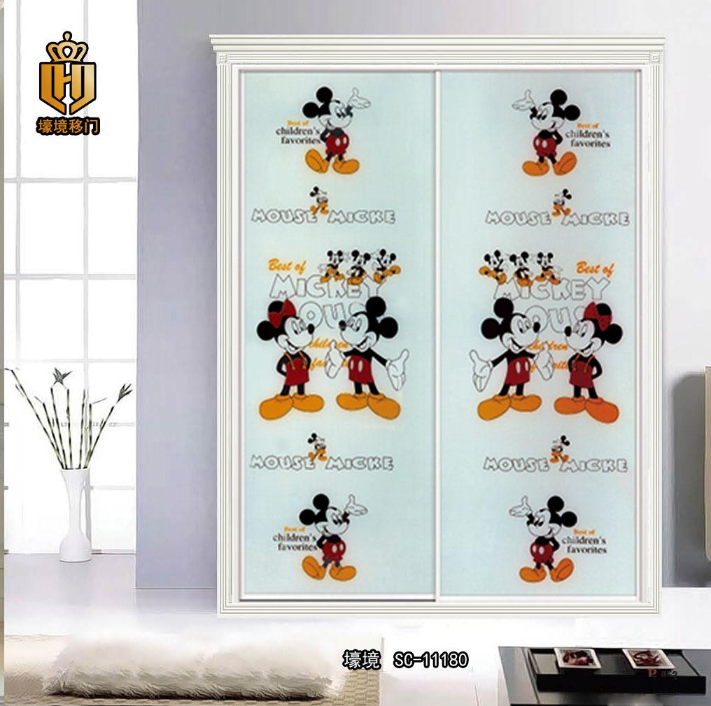 儿童卡通衣柜门 强化玻璃移门图片|儿童卡通衣柜门