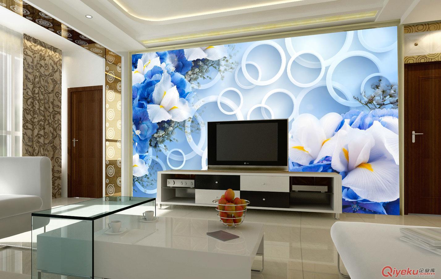 无缝墙布 3d蓝色花朵沙发电视背景墙 墙纸 大型壁画 厂家个性定制