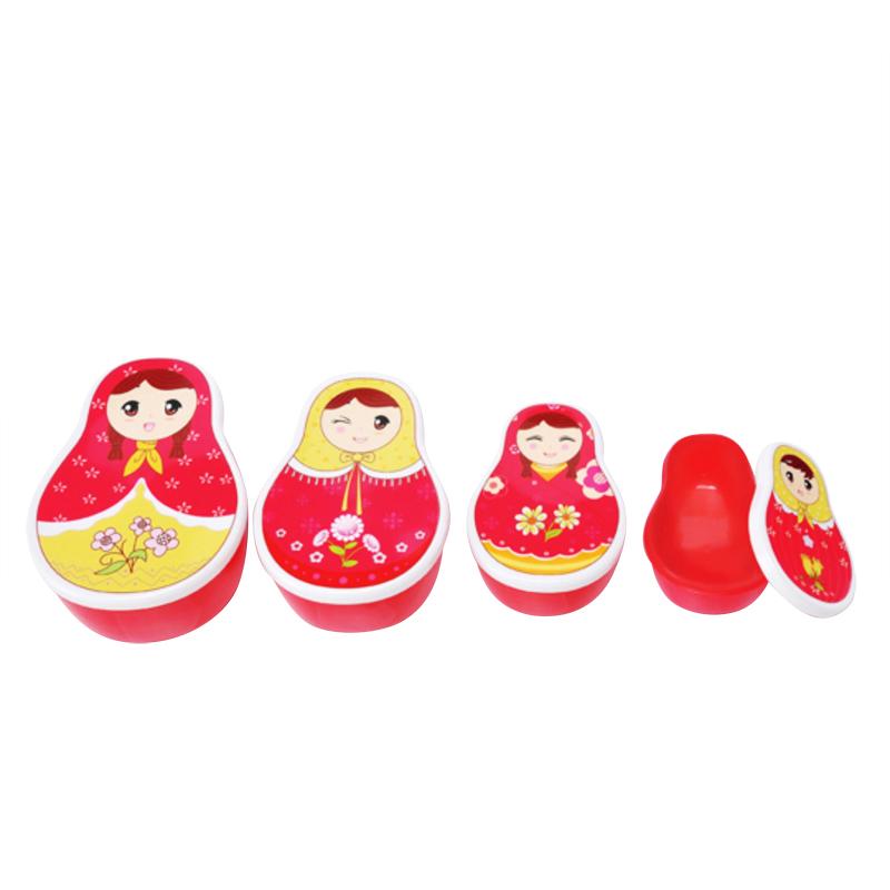 迷你一家人/卡通不倒翁/草莓型四件套塑料保鲜盒饭盒