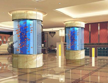 亚克力鱼缸大型圆柱鱼缸定做