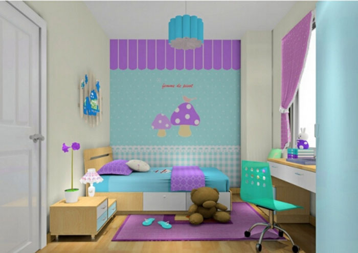 儿童房装修效果图100例(3)        橘粉色很适合小女孩,壁画的米老鼠