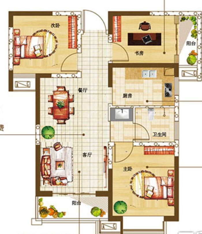 盛润锦绣城88平方三室两厅现代装修效果图