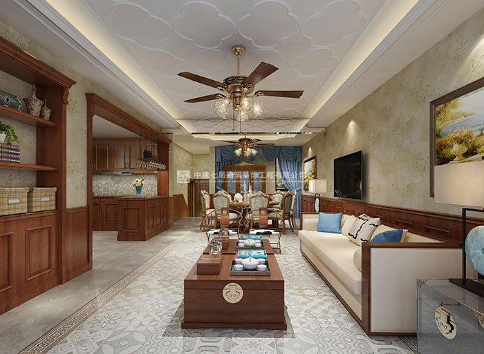 大溪地联排别墅美式风格装修设计效果图
