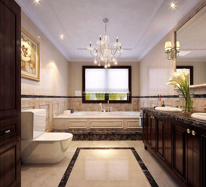 清华大溪地联排别墅美式风格装修设计效果图   卫生间