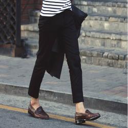 冬季新款男装韩版加绒休闲裤男士修身长裤小直筒青年黑色男裤加厚